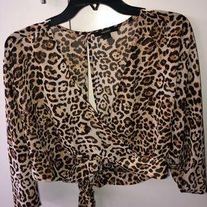 Cheetah print cropped blouse